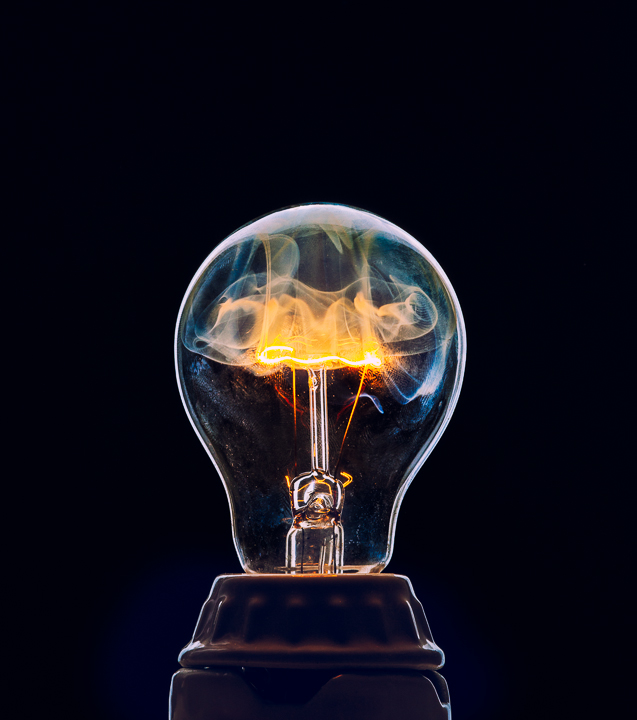 Smoke Inside A Light Bulb Globe
